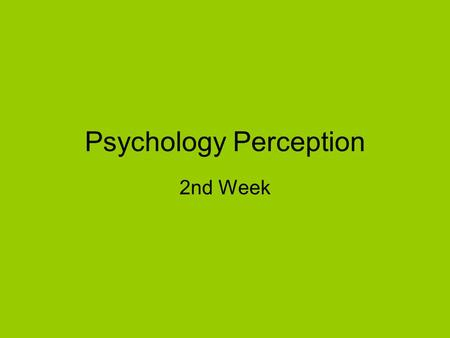 Psychology Perception 2nd Week. Perspective / Orientation.