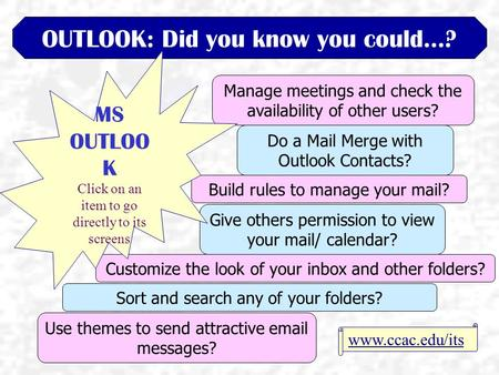 OUTLOOK: Did you know you could…? Manage meetings and check the availability of other users? Customize the look of your inbox and other folders? Do a Mail.