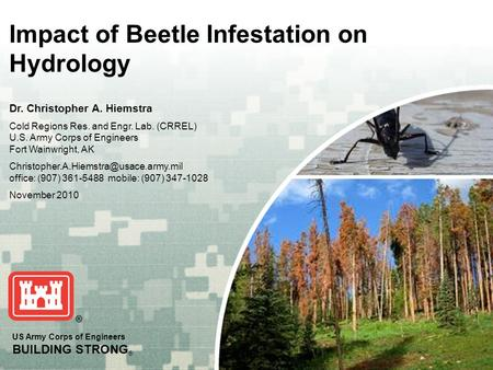 US Army Corps of Engineers BUILDING STRONG ® Impact of Beetle Infestation on Hydrology Dr. Christopher A. Hiemstra Cold Regions Res. and Engr. Lab. (CRREL)
