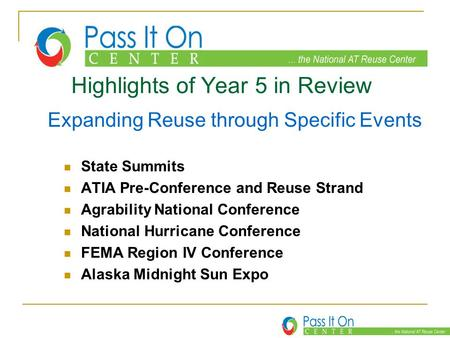 Highlights of Year 5 in Review Expanding Reuse through Specific Events State Summits ATIA Pre-Conference and Reuse Strand Agrability National Conference.