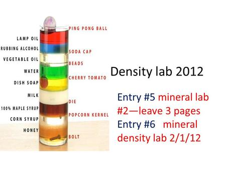 Density lab 2012 Entry #5 mineral lab #2—leave 3 pages Entry #6 mineral density lab 2/1/12.
