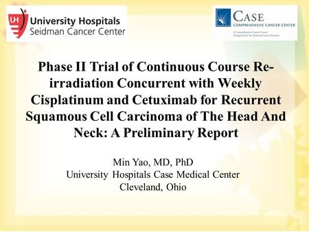 Phase II Trial of Continuous Course Re- irradiation Concurrent with Weekly Cisplatinum and Cetuximab for Recurrent Squamous Cell Carcinoma of The Head.