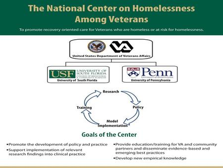 1. 2 The National Center on Homelessness Among Veterans …. to promote recovery oriented care for Veterans who are homeless or at-risk for homelessness.