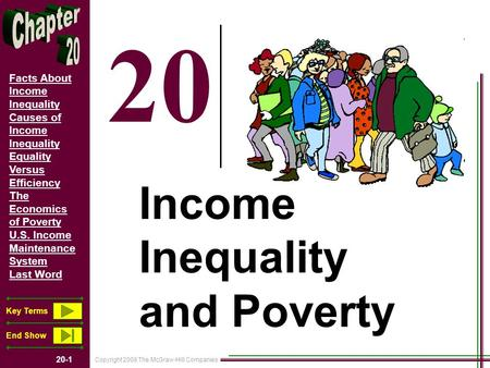 Copyright 2008 The McGraw-Hill Companies 20-1 Facts About Income Inequality Causes of Income Inequality Equality Versus Efficiency The Economics of Poverty.