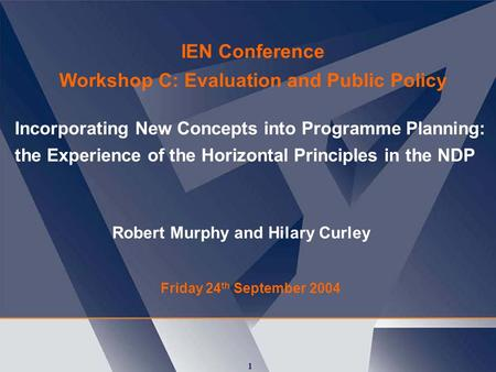 1 Incorporating New Concepts into Programme Planning: the Experience of the Horizontal Principles in the NDP Friday 24 th September 2004 IEN Conference.