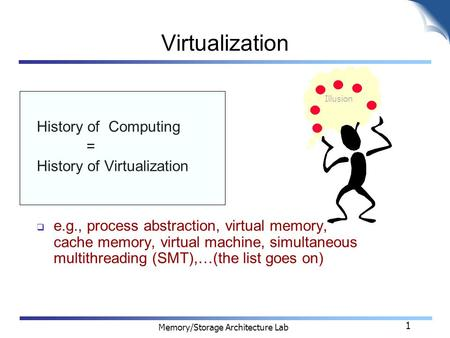 Memory/Storage Architecture Lab 1 Virtualization History of Computing = History of Virtualization  e.g., process abstraction, virtual memory, cache memory,