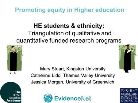 HE students & ethnicity: Triangulation of qualitative and quantitative funded research programs Mary Stuart, Kingston University Catherine Lido, Thames.