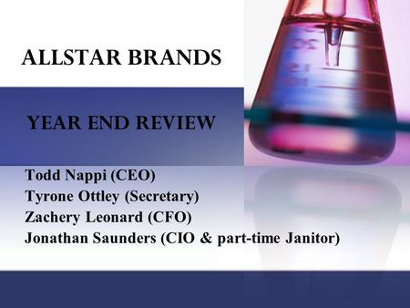 Todd Nappi (CEO) Tyrone Ottley (Secretary) Zachery Leonard (CFO) Jonathan Saunders (CIO & part-time Janitor) YEAR END REVIEW ALLSTAR BRANDS.