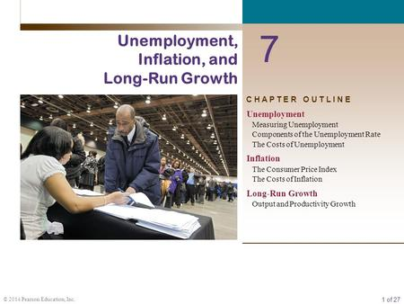 1 of 27 © 2014 Pearson Education, Inc. C H A P T E R O U T L I N E 7 Unemployment, Inflation, and Long-Run Growth Unemployment Measuring Unemployment Components.