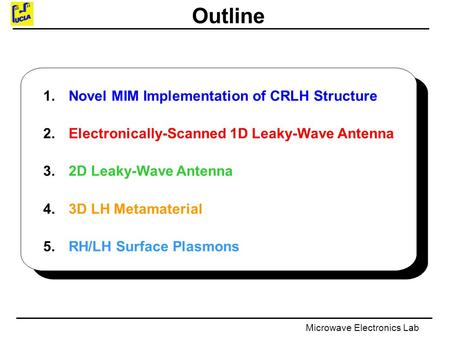 Microwave Electronics Lab Outline 1. Novel MIM Implementation of CRLH Structure 2. Electronically-Scanned 1D Leaky-Wave Antenna 3. 2D Leaky-Wave Antenna.