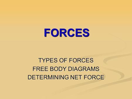 FORCES FORCES TYPES OF FORCES FREE BODY DIAGRAMS DETERMINING NET FORCE.