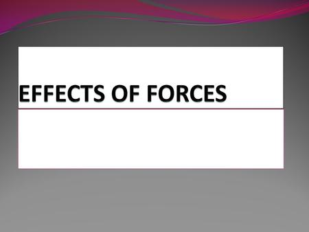 EFFECTS OF FORCES.