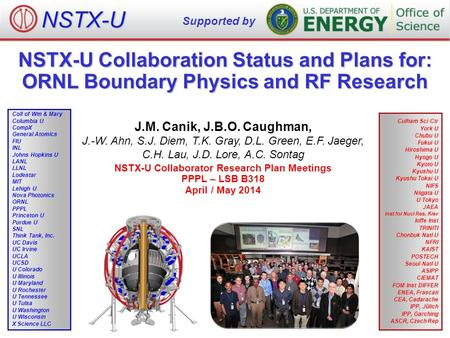 NSTX-U Collaboration Status and Plans for: ORNL Boundary Physics and RF Research J.M. Canik, J.B.O. Caughman, J.-W. Ahn, S.J. Diem, T.K. Gray, D.L. Green,
