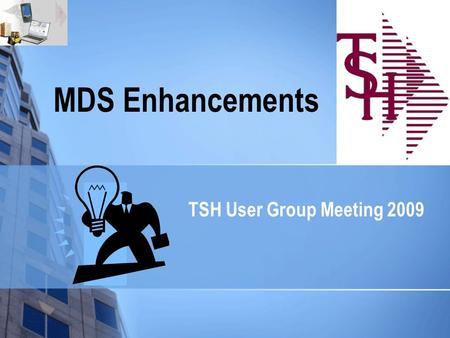 MDS Enhancements TSH User Group Meeting 2009. MDS Base Modifications 250 Cases Updated this Year Cases Completed By System Area ODBC1 Purchasing25 Pricing12.