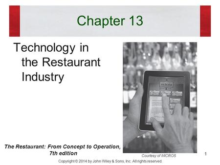 The Restaurant: From Concept to Operation,