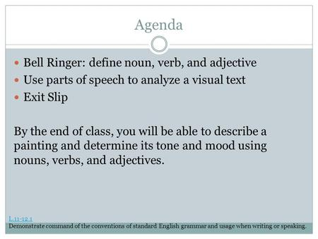 Agenda Bell Ringer: define noun, verb, and adjective Use parts of speech to analyze a visual text Exit Slip By the end of class, you will be able to describe.