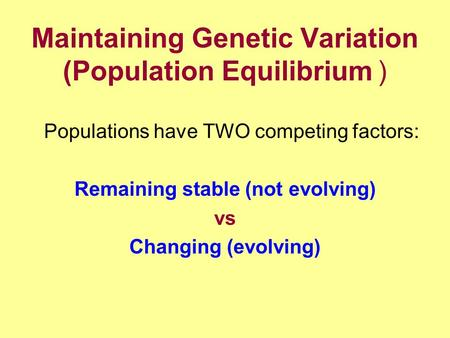 Maintaining Genetic Variation (Population Equilibrium) Populations have TWO competing factors: Remaining stable (not evolving) vs Changing (evolving)