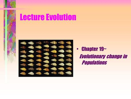 Lecture Evolution Chapter 19~ Evolutionary change in Populations.