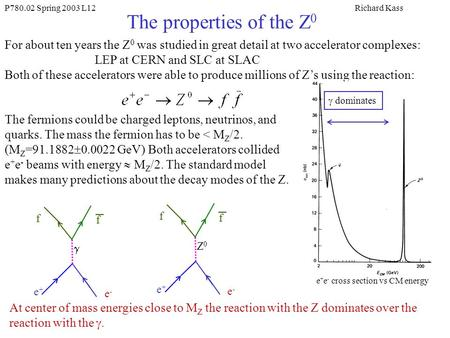 P780.02 Spring 2003 L12Richard Kass The properties of the Z 0 For about ten years the Z 0 was studied in great detail at two accelerator complexes: LEP.