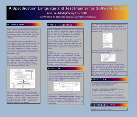 A Specification Language and Test Planner for Software Testing Aolat A. Adedeji 1 Mary Lou Soffa 1 1 DEPARTMENT OF COMPUTER SCIENCE, UNIVERSITY OF VIRGINIA.