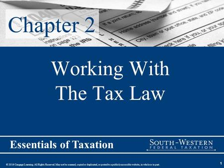 Working With The Tax Law