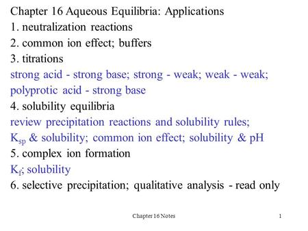 Chapter 16 Notes1 Chapter 16 Aqueous Equilibria: Applications 1. neutralization reactions 2. common ion effect; buffers 3. titrations strong acid - strong.