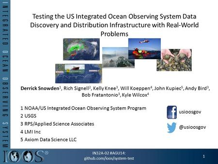 Testing the US Integrated Ocean Observing System Data Discovery and Distribution Infrastructure with Real-World Problems Derrick Snowden 1, Rich Signell.