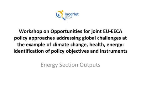 Workshop on Opportunities for joint EU-EECA policy approaches addressing global challenges at the example of climate change, health, energy: identification.