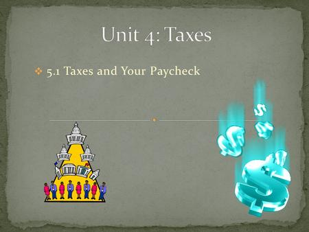  5.1 Taxes and Your Paycheck.  Payroll Tax  Income Tax  Federal Insurance Contribution Act (FICA)  Withholding  Gross Income  Net Income  Form.