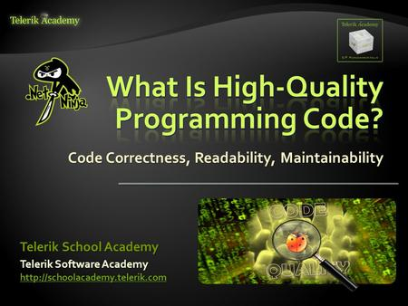 Code Correctness, Readability, Maintainability Telerik Software Academy   Telerik School.