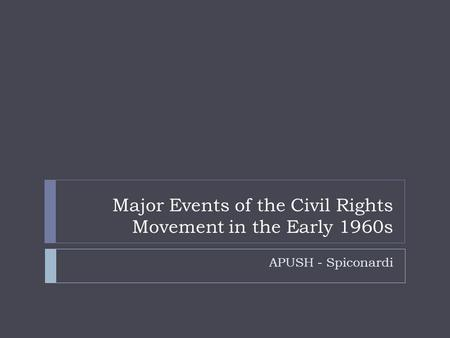 Major Events of the Civil Rights Movement in the Early 1960s