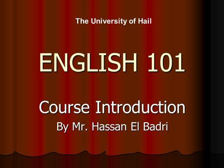 Course Introduction By Mr. Hassan El Badri