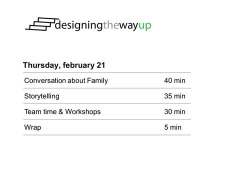 Thursday, february 21 Conversation about Family40 min Storytelling35 min Team time & Workshops30 min Wrap5 min.
