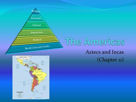 Aztecs and Incas (Chapter 11). Aztecs Incas Government not as well organized as Incan government Less centralized than Incas Lake/land rulers Maize was.