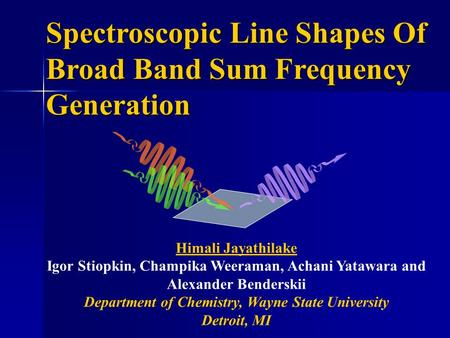Spectroscopic Line Shapes Of Broad Band Sum Frequency Generation Himali Jayathilake Igor Stiopkin, Champika Weeraman, Achani Yatawara and Alexander Benderskii.