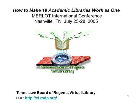 1 How to Make 19 Academic Libraries Work as One MERLOT International Conference Nashville, TN July 25-28, 2005 Tennessee Board of Regents Virtual Library.