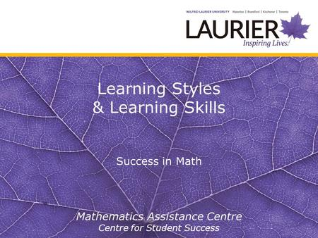 Learning Styles & Learning Skills Success in Math Mathematics Assistance Centre Centre for Student Success.