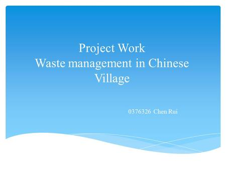 Project Work Waste management in Chinese Village 0376326 Chen Rui.