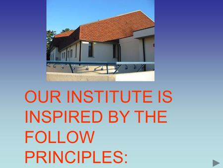 OUR INSTITUTE IS INSPIRED BY THE FOLLOW PRINCIPLES: