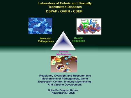 Laboratory of Enteric and Sexually Transmitted Diseases Historical Perspective Origin: Began in 1994 - Established to review the rapidly increasing.