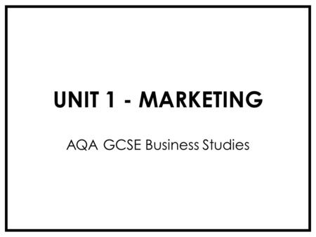 AQA GCSE Business Studies