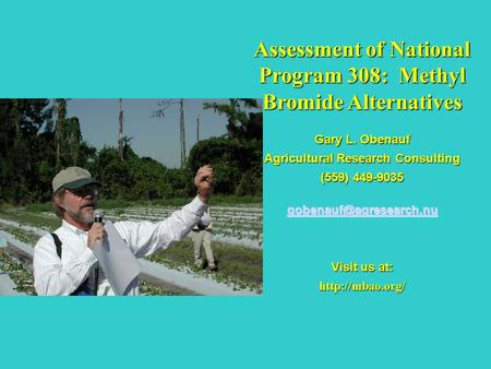 Assessment of National Program 308: Methyl Bromide Alternatives Gary L. Obenauf Agricultural Research Consulting (559) 449-9035