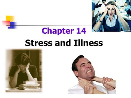 Chapter 14 Stress and Illness. Stress and Health Stress is a risk factor for the development of disease Stress may aggravate an existing disease or interfere.