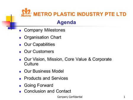 Company Confidential1 METRO PLASTIC INDUSTRY PTE LTD Agenda Company Milestones Organisation Chart Our Capabilities Our Customers Our Vision, Mission, Core.