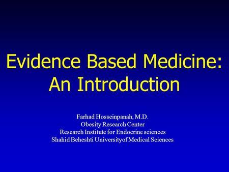 Introduction to research and evidence based