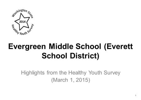 Evergreen Middle School (Everett School District) Highlights from the Healthy Youth Survey (March 1, 2015) 1.
