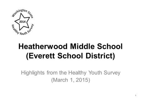 Heatherwood Middle School (Everett School District) Highlights from the Healthy Youth Survey (March 1, 2015) 1.