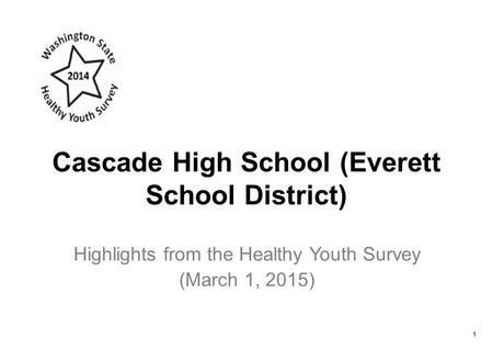 Cascade High School (Everett School District) Highlights from the Healthy Youth Survey (March 1, 2015) 1.