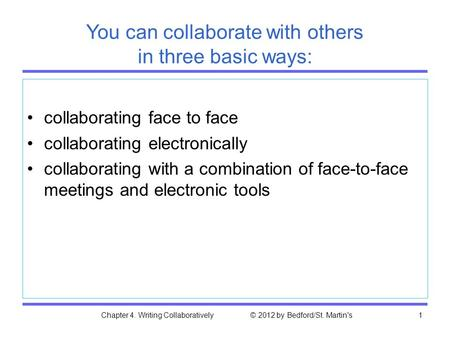 Chapter 4. Writing Collaboratively © 2012 by Bedford/St. Martin's1 You can collaborate with others in three basic ways: collaborating face to face collaborating.
