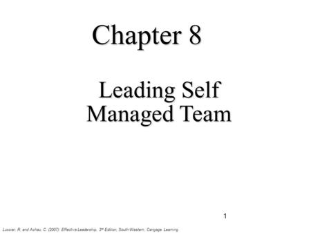 Leading Self Managed Team